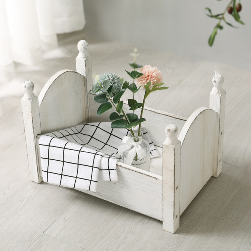 Vintage Posing Wood Bed For Newborn Photography Props Photo Flokati Shoot Studio Accessories Baby Fotografia Photoshoot Baskets