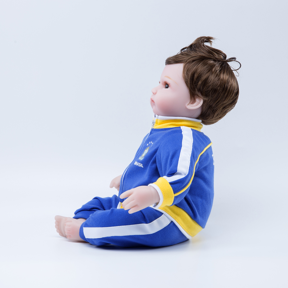 18 inch doll reborn baby silicon boneca sports reborn soccer football toys for children Brazil in Dolls from Toys Hobbies