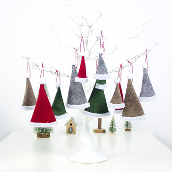 1 PCS Multicolor Cloth Felt Christmas Hat Pendant Nice Looking Christmas Tree Hat Hanging Ornament Christmas Decorations For Hom image