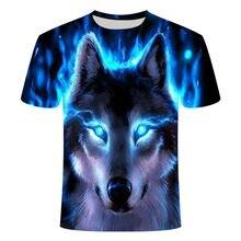 Primavera 2021 nueva imagen camiseta de lobo de nieve dibujo de lobo 3DT camiseta de manga corta de verano para hombres y mujeres