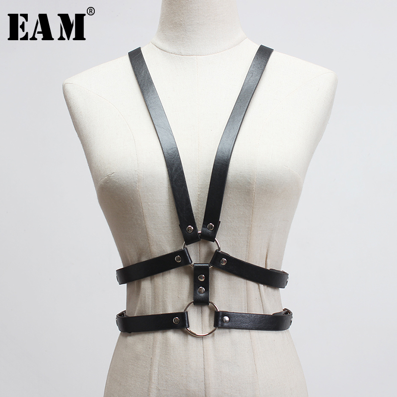 [EAM]  Pu Leather Black Metal Buckle Spit Joint Wide Strap Belt Personality Women New Fashion Tide All-match Spring 2020 1T189