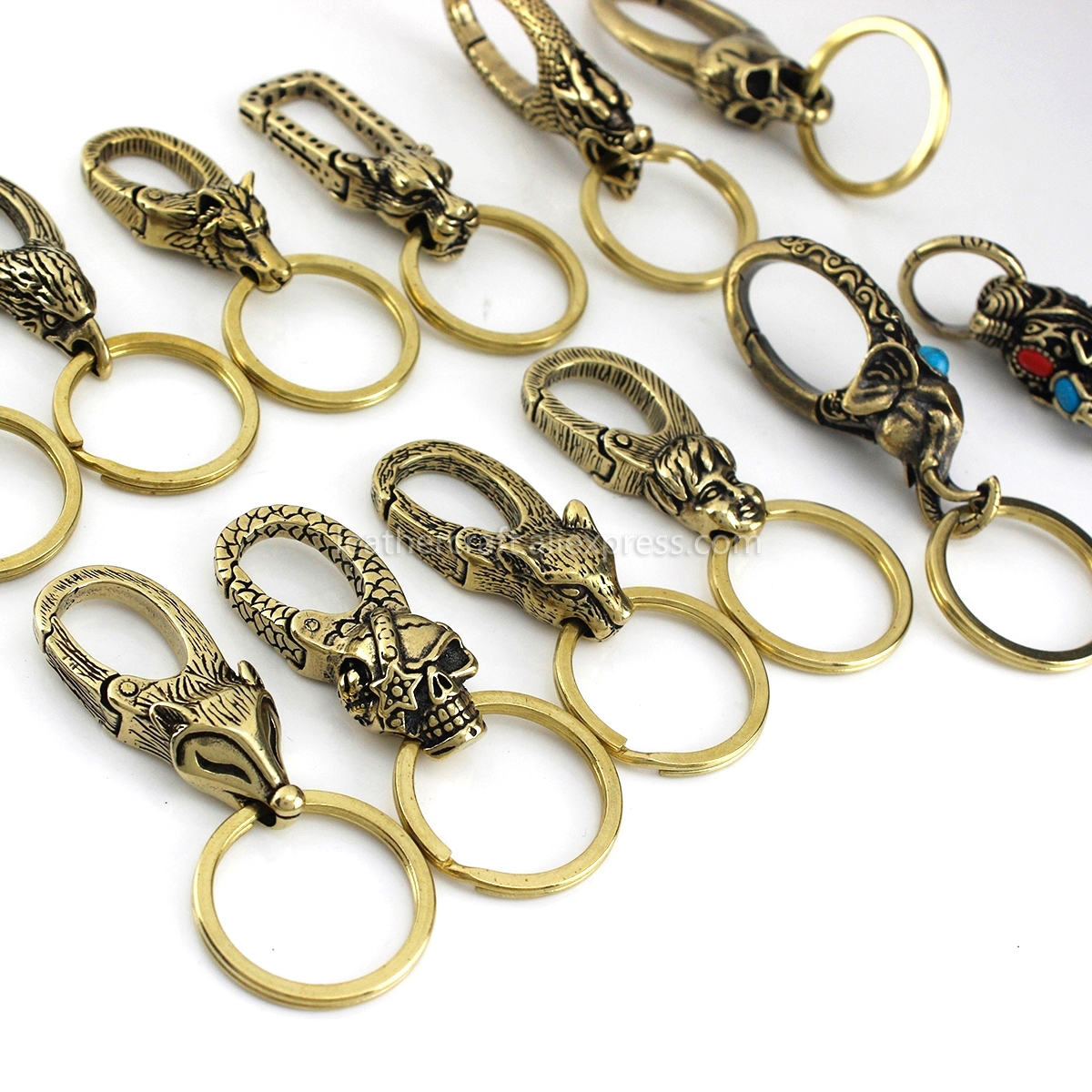 Solid Brass S hook Belt clip O ring DIY Fob Key Wallet chain Leather Craft