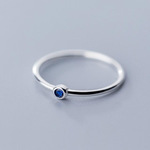 INZATT Real 925 Sterling Silver Blue Zircon Round Ring For Fashion Women Cute Fine Jewelry 2019 Minimalist Accessories Gift 2