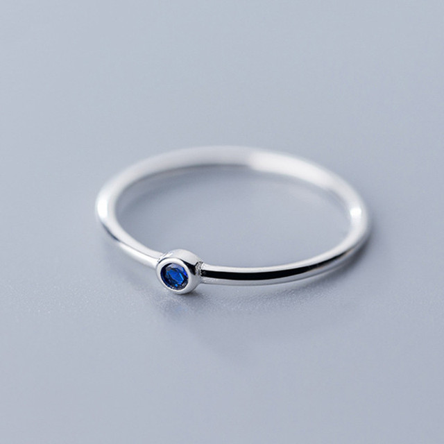 925 Sterling Silver Blue Zircon Ring