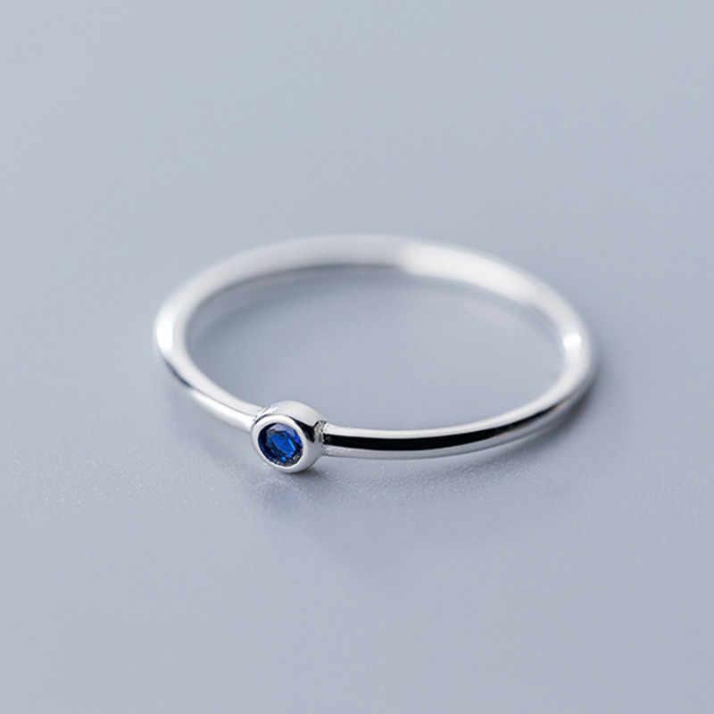 INZATT gerçek 925 ayar gümüş mavi zirkon yuvarlak yüzük moda kadınlar için sevimli güzel takı 2019 Minimalist aksesuarları hediye