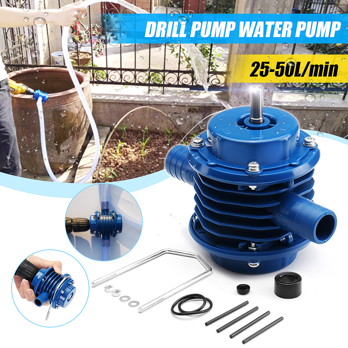 Heavy Duty Self-Priming Hand Electric Drill Water Pump For Electric Drill Mini Self-priming Pump 7mm Round Shank DC Pumping