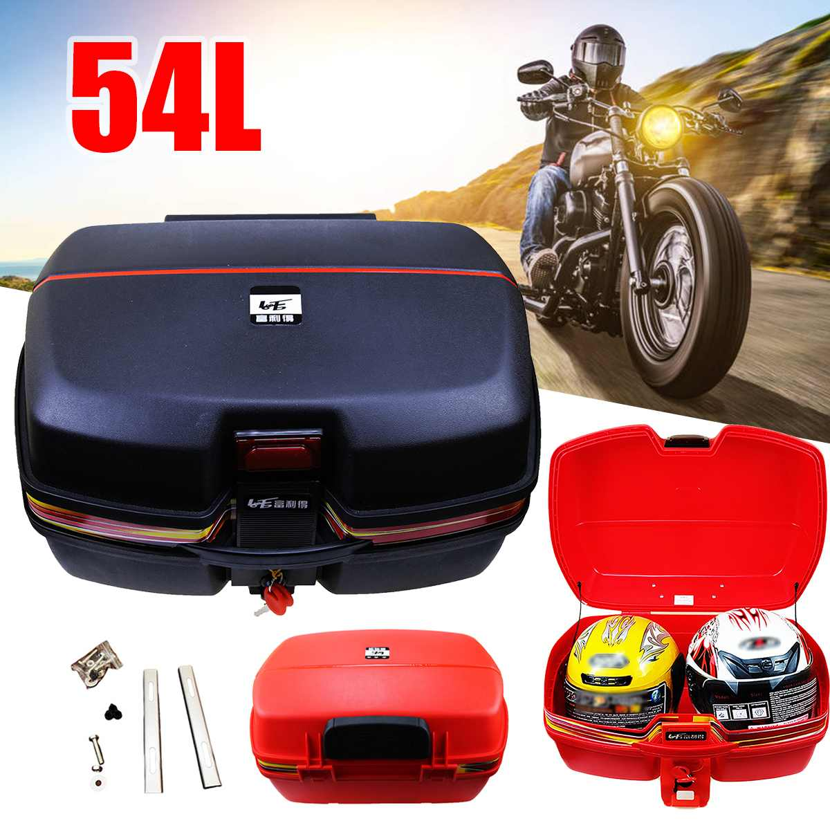 54L Motorcycle Trunk Waterproof Motor Top Case For Double Helmet Motorbike Rear Storage Luggage Tool Box With Secure Latch Black