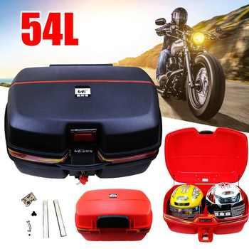 54L Motorcycle Trunk Waterproof Motor Top Case for double Helmet Motorbike Rear Storage Luggage Tool Box with Secure Latch Black