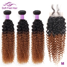 Soft Feel Hair Ombre Brazilian Kinky Curly Weave Human Hair 3/4 Bundles With Closure T1B/30 Ombre Bundles With Closure Remy Hair куртка утепленная ombre ombre mp002xm241ow