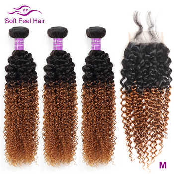 Soft Feel Hair Ombre Brazilian Kinky Curly Weave Human Hair 3/4 Bundles With Closure T1B/30 Ombre Bundles With Closure Remy Hair - Category 🛒 Hair Extensions & Wigs