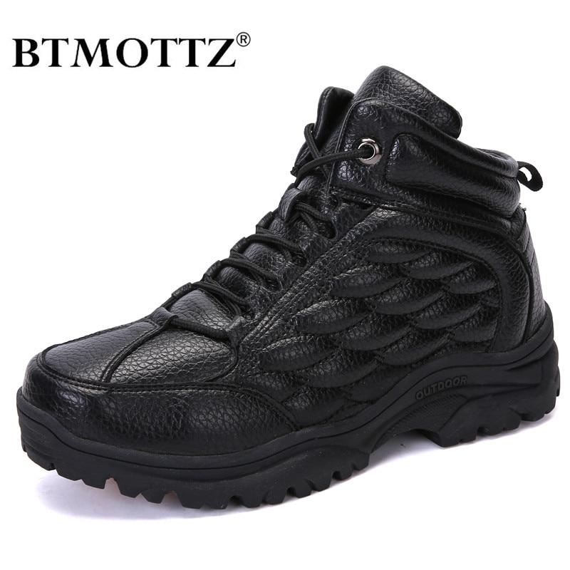 Super Warm Winter Men Boots Genuine Leather Snow Boots Men Winter Work Shoes Men Military Fur Ankle Boots For Men Botas BTMOTTZ