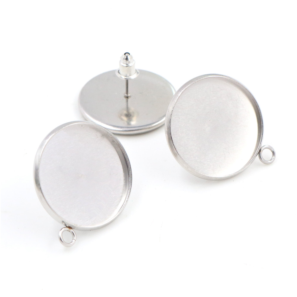 ( No Fade ) 20mm 10pcs Stainless Steel Earring Studs,Earrings Blank/Base,Fit 20mm Glass Cabochons,Buttons-T7-31