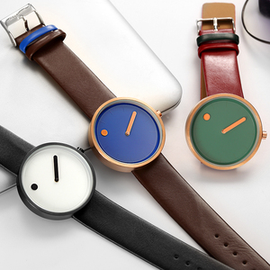 Image 2 - Top Creative Designer Brand Quartz Watch Men Leather Casual Unisex Simple Wrist watch Clock Male Gift  relogio Masculino