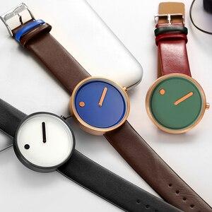 Image 2 - 탑 크리 에이 티브 디자이너 브랜드 쿼츠 시계 남성 가죽 캐주얼 남여 간단한 손목 시계 시계 남성 선물 relogio Masculino