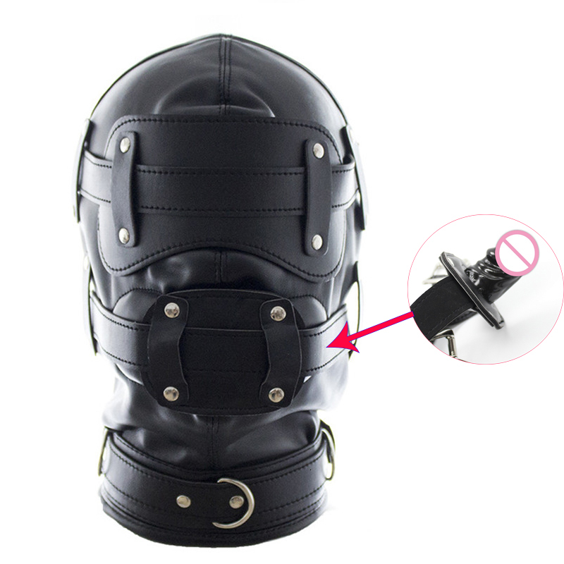 Bondage Mask Headgear With Dildo Mouth Gags Penis Restraint Sex Hood Mask For Women Adult Games Fetish Slave BDSM For Couples