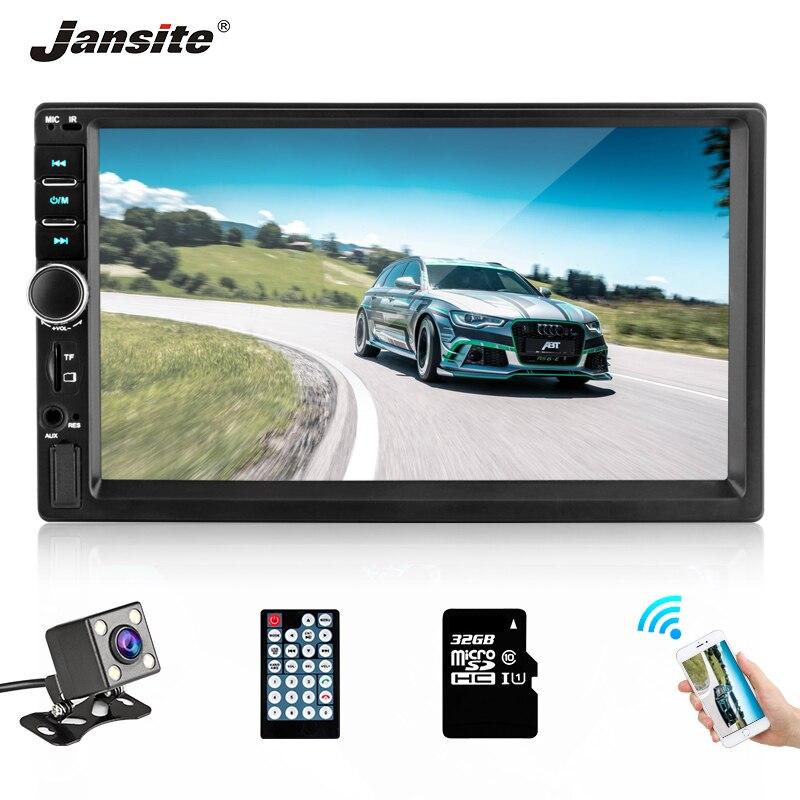 Jansite autoradio DVD MP5 lecteur Digital ecran tactile TF carte voiture lecteur multimédia miroir 2din autoradio avec caméra de recul