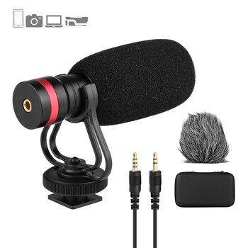 Mini micrófono condensador cardioide micrófono Anti-choque montaje 3,5mm TRS y TRRS salida de Audio para Smartphones cámaras Audio