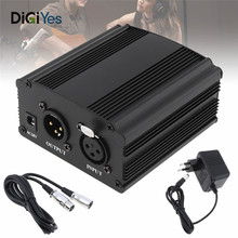 цена на 48V Phantom Power Supply with XLR Audio Cable EU Adaptor for Condenser Microphone Studio Music Voice Recording Equipment