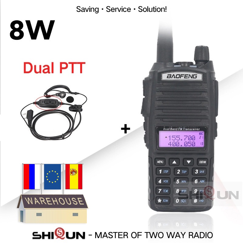 BaoFeng Walkie Talkie UV-82 Upgrade 8W Baofeng UV 82 Dual PTT Headset Mic Walkie Talkie 10 KM Baofeng 8W Radios Baofeng Uv 9r 5R