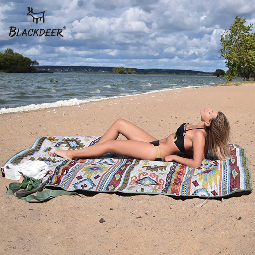 BLACKDEER mata kempingowa dla rodziny w stylu narodowym z nadrukiem zagęścić wodoodporna mata na plażę i piknik dziecko gra wiosna można prać w pralce