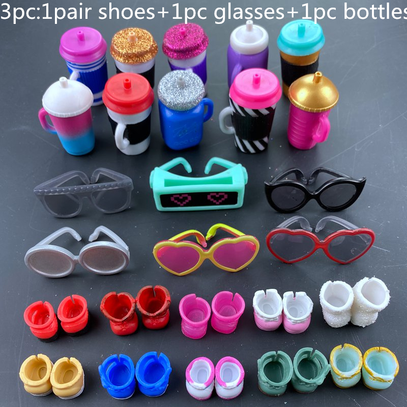 3pc Original Shoes Glasses Bottles Accessories Set For LOLs 8 Cm Big Sister Dolls Kid Birthday Gift Toy Clothes