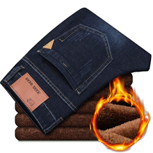 Men Jeans Famous-Brand Activities Soft New Autumn Flocking Warm Winter High-Quality