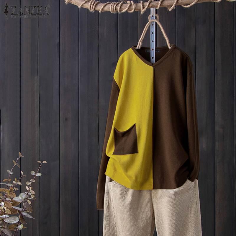ZANZEA Women V Neck Blouse Vintage Patchwork Shirts Autumn Long Sleeve Color Block Tunic Tops Femininas Blusas Plus Size Mujer