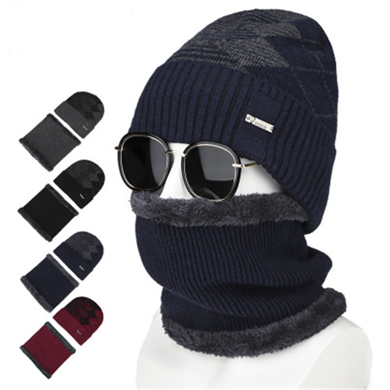 2019 Men Plush Winter Skullies Beanies Rings Sets Ventilate Elastic Plaid Thick Neck Ear Warm Soft Hat Scarf Accessories-CGC-W7