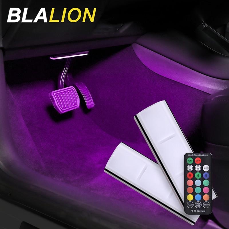 2/4pcs Car LED Interior Ambient Lights USB Strip Lights Wireless Remote RGB Foot Light Atmosphere Lamp Auto LED Decorative Lamp