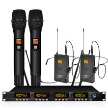 Wireless microphone system frequency adjustable professional UHF dual handheld dual headset microphone wireless(China)