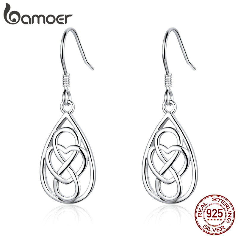 BAMOER Genuine 925 Sterling Silver Infinite Love Heart To Heart Engrave Drop Earrings For Women Fashion Earrings Jewelry SCE532