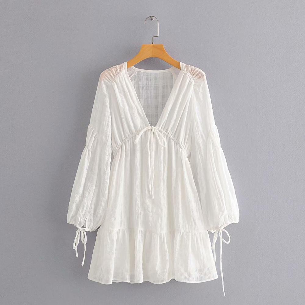 New Women Sexy Deep V Neck Texture Casual Loose White Mini Dress Chic Female Lantern Sleeve Lace Up Vestido Party Dresses DS3709