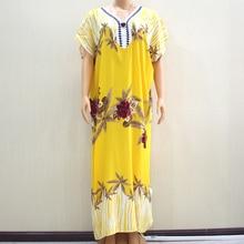 2019 ファッションデザイン新着フラワープリント黄色綿 100% アップリケ半袖ロングドレスアフリカ Dashiki ドレス女性のための