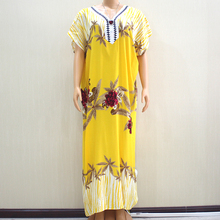 2019 Fashion Design New Arrival Flower Print Yellow 100% Cotton Appliques Short Sleeve Long Dress African Dashiki Dress For Lady
