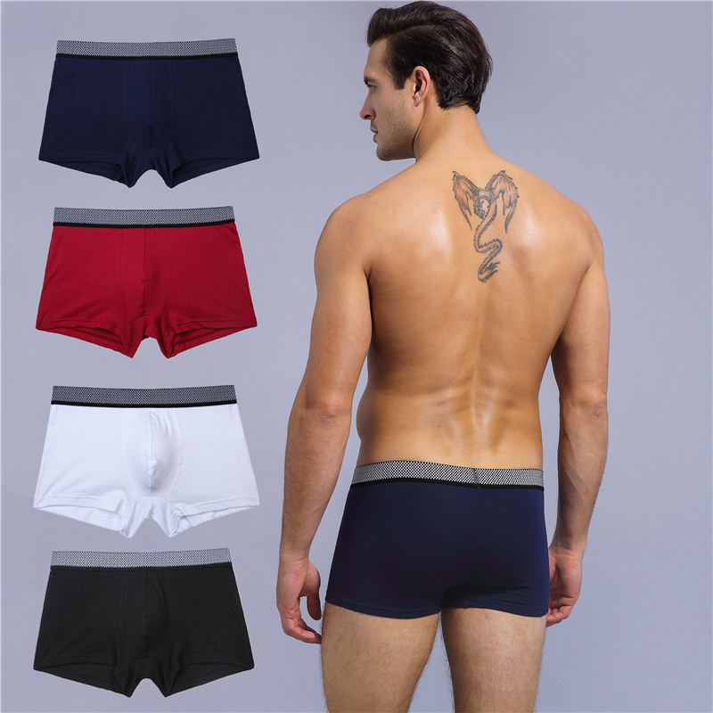 Underwear Men Briefs Boxer Sexy Para Cotton Interior Plaid Ropa Solid Bielizna Homme