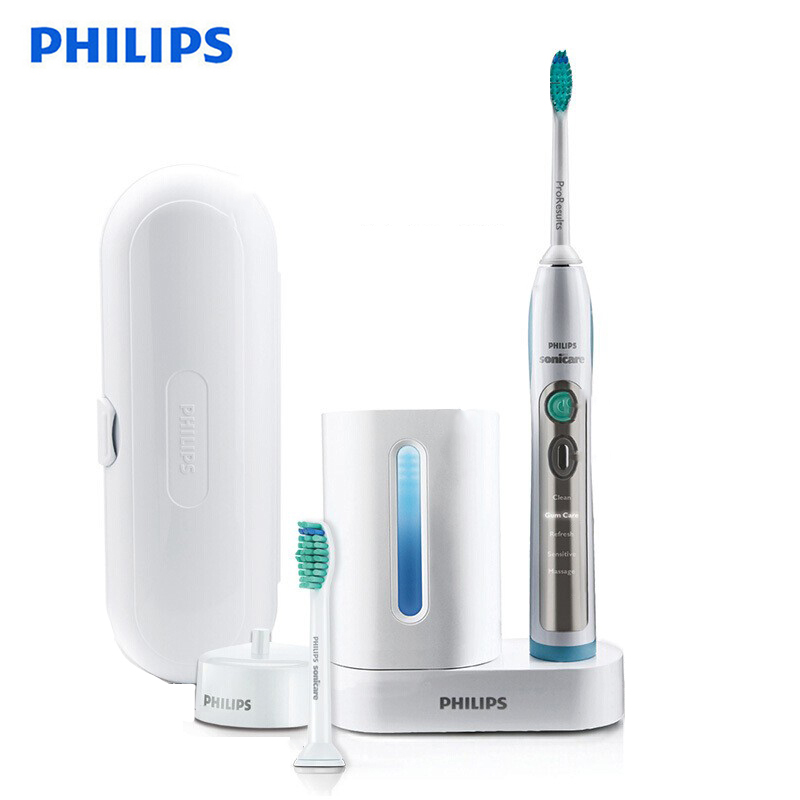 Philips Sonicare HX6972/10 Smartimer and Quadpacer Electric Toothbrush White&Silver with Waterproof Rechargeable for Adult image