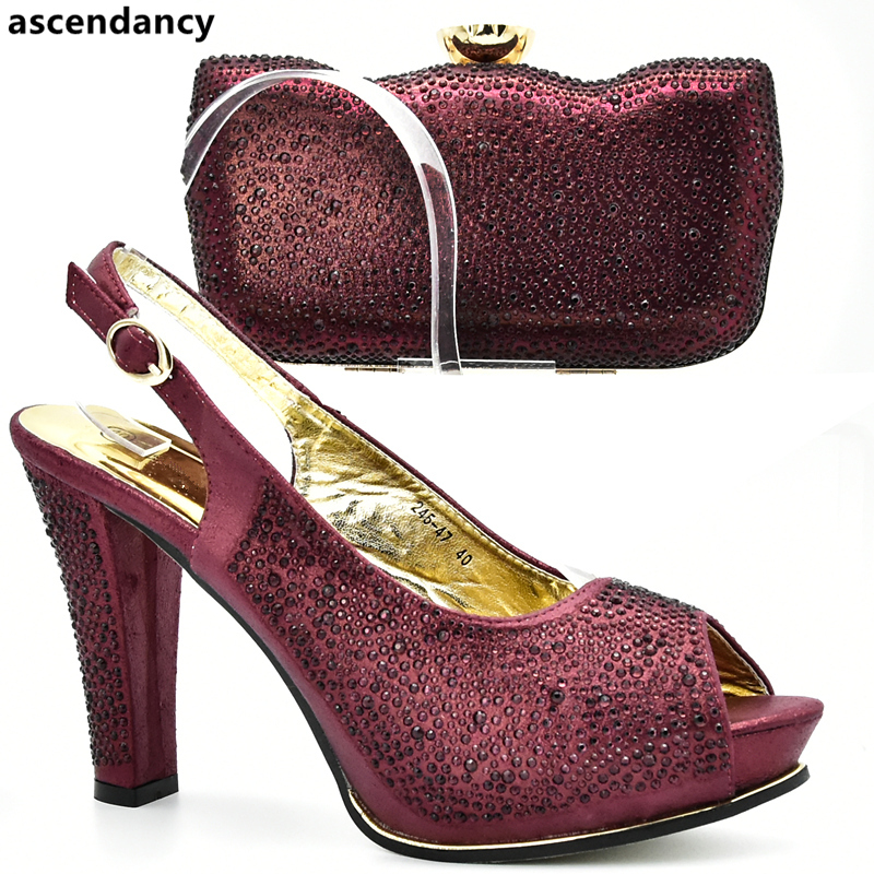 Wine Color Italian Shoes With Matching Bags High Quality Shoes And Bag Set African Sets 2020 Ladies Shoes With Matching Bags Set