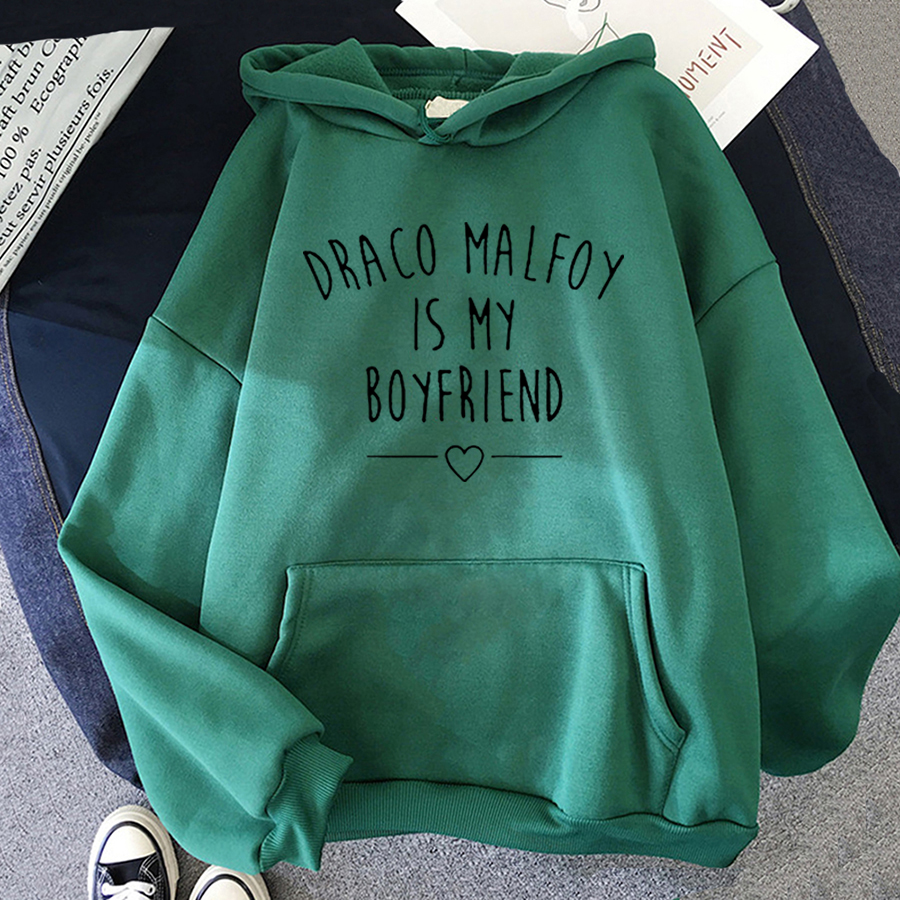 Draco Malfoy Is My Boyfriend Letter Print Sweatshirts Harajuku Hoodies Women 2021Spring Casual Fashion Streetwear Wram Pink Tops 13