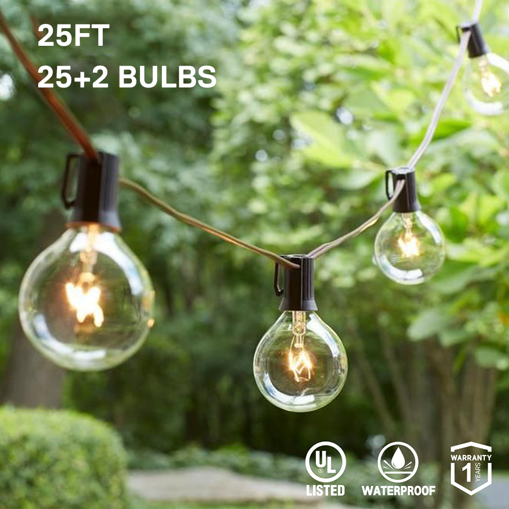 Outdoor Patio String Light 12 25 Clear Globe G40 Bulbs UL CE For Patio Backyard Wedding Gathering Parties Markets Decorative