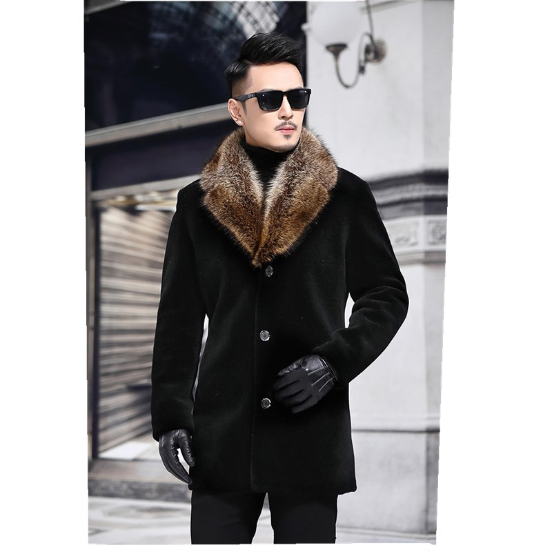 High-quality Autumn Winter Men Coat Overcoat Mens With Artifical Fur Collar Outerwear Jacket And Coat Size M-5XL