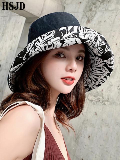 Summer Women Double sided Flower Print Cotton Sun Hats Ladies Fashion Wide Brim Foldable Sun Bucket Hats Anti UV Beach Hat Caps