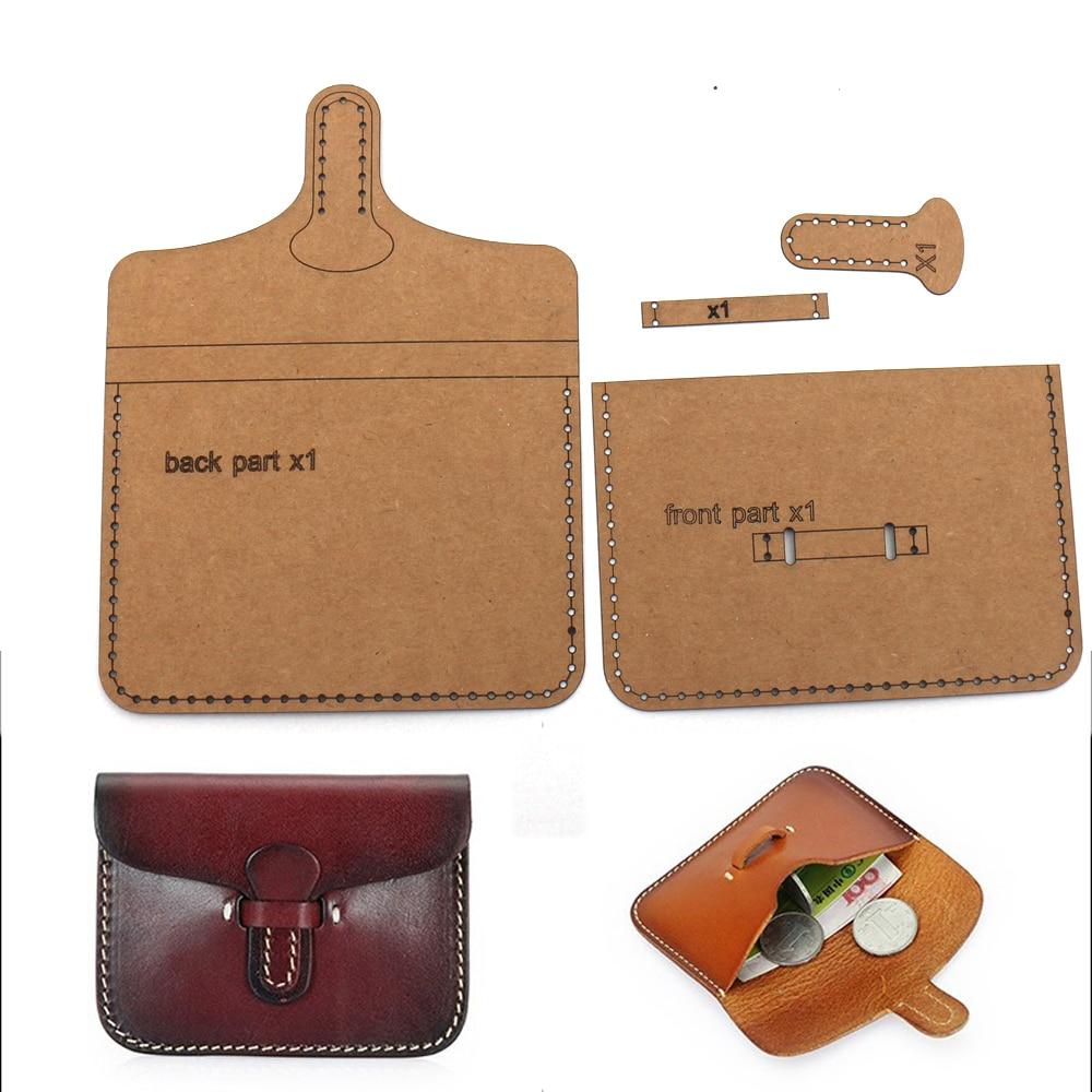 Diy Leather Kraft Card Holder Sewing Pattern Coinb Bag Template Diy Handmade Craft Size 10.5x8.5cm