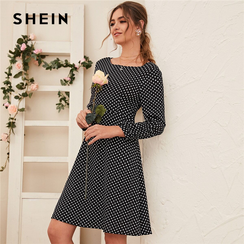 SHEIN Black and White Polka Dot V-cut Twist Back Dress Women Spring Long Sleeve High Waist Casual A Line Flared Dresses 1
