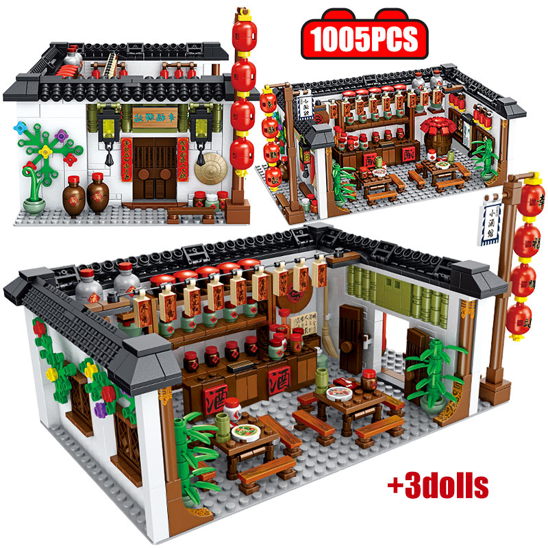1801pcs Impression Chinese Style City Architecture Happiness Station Tavern Building Blocks Bricks Toys For Children