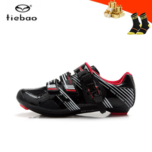 цена на Tiebao Professional bicycle shoes road men women breathable self-locking cycling sneakers superstar road riding bicycle shoes