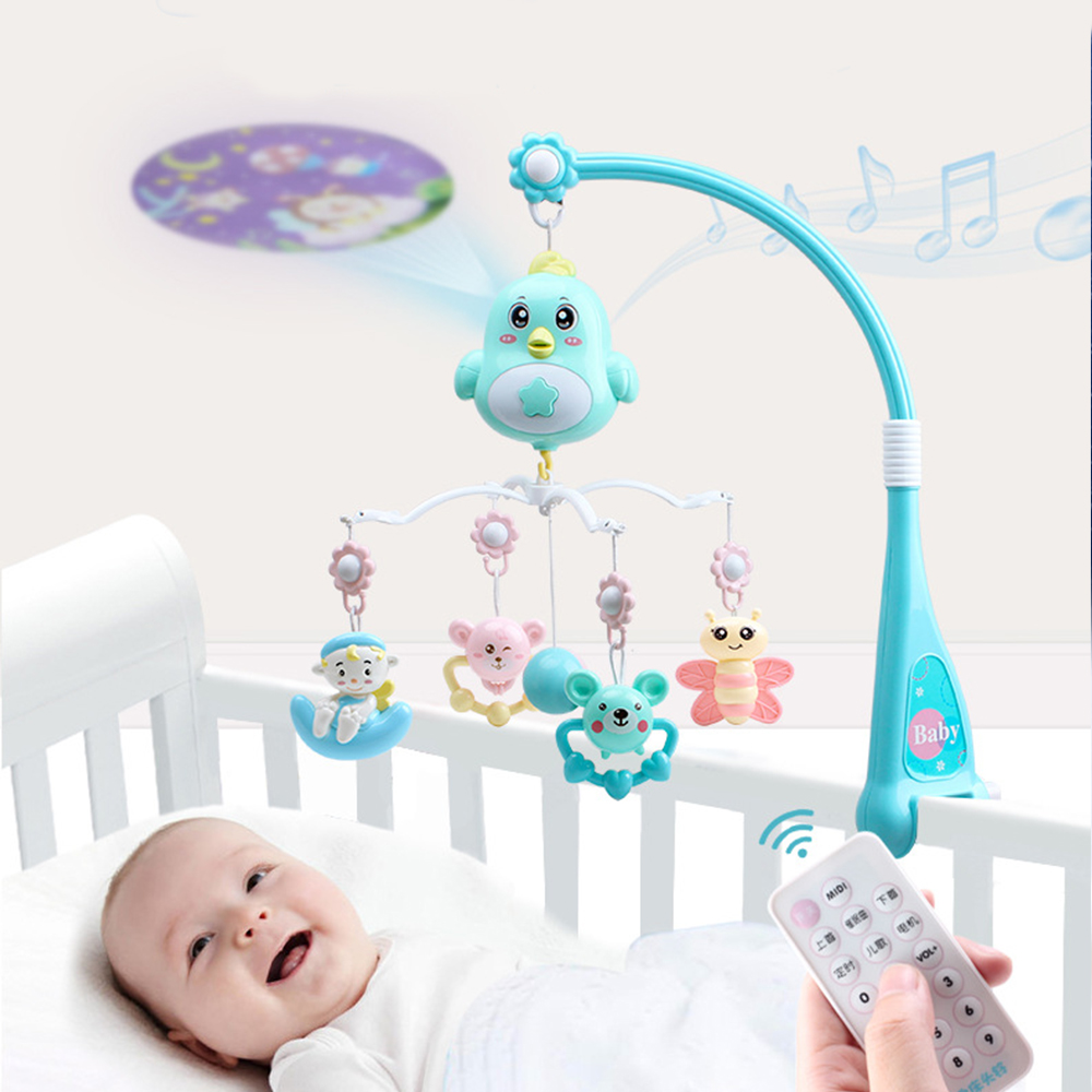 0-12 Months Baby Crib Toys For Newborn Infant Mobile Musical Holder Rotating Crib Bell With Music Box Projector Educational Toys
