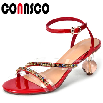CONASCO Fashion Concise Casual 2020 Summer New Women Genuine Leather Sandals Pumps Narrow Band Rhinestone High Heels Shoes Woman