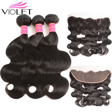 VIOLET Human Hair 3 Bundles With Frontal  Brazilian Hair Body Wave 13x4 Ear to Ear Lace Frontal With Bundles Non Remy Hair