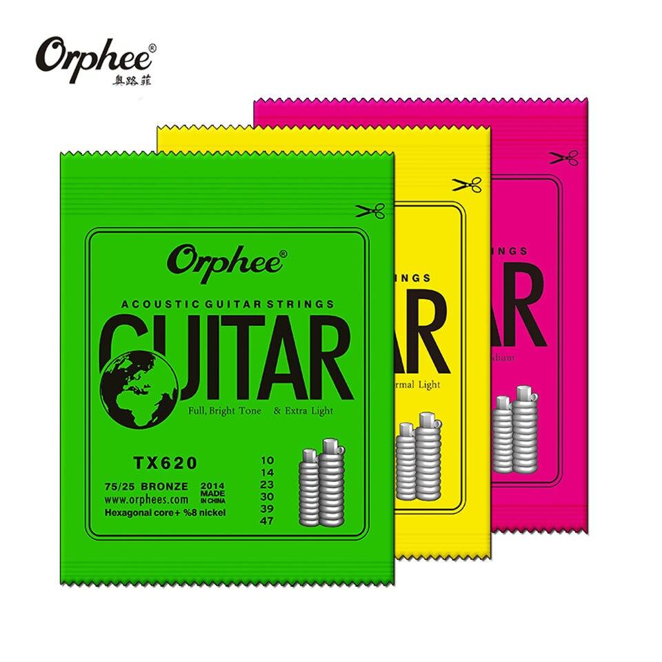 Orphee TX Series Acoustic Guitar Strings Green Phosphor Folk Hexagonal Carbon Steel Classic Guitar String TX620/TX630/TX640