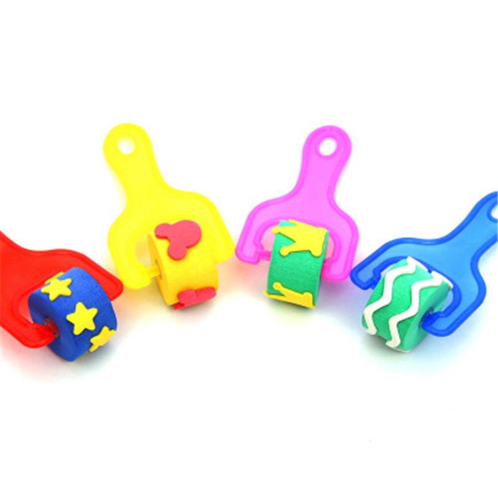 Baby Art Set Sponge Painting Brush Kid Plastic Handle EVA DIY Graffiti Paint Roller Toy Seal Drawing Tool For School Stationery